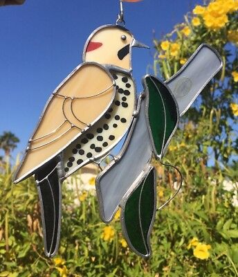 Northern Flicker Bird Stained Glass Sun Catcher Window Hanging Art