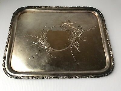 Vintage Antique Silver Rectangular Monarch Serving Tray Plate