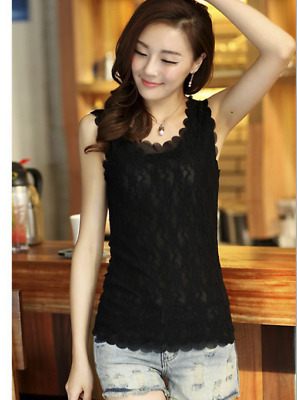 New Womens Floral Lace Wave Vest  Tank Top Ladies Stunning T-shirt Blouse Black