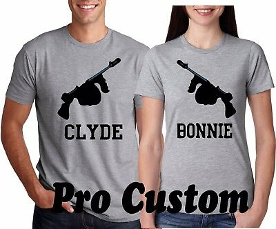 BONNIE & CLYDE Guns VALENTINES LOVE Couple matching funny cute T-Shirts  S-5XL