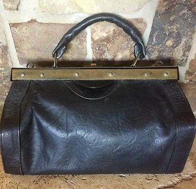 Antique Leather Czech/German Doctor Bag With Brass Hardware