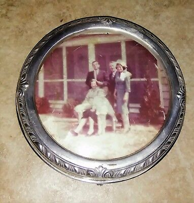 Antique Vintage Sterling Silver Round 3 1/2 Inch Picture Frame