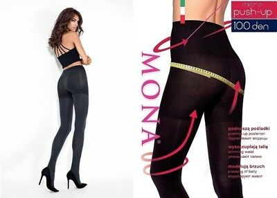 Mona MICRO PUSH-UP 50 / 100 DEN TIGHTS Slimming Waist Pressing of Belly (S - XL)