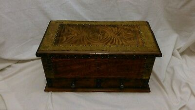 Fruit wood ornate wooden box with hidden draws