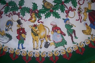 "Vintage Tablecloth Wilton Court Twelve 12 Days Of Christmas 68"" Round Bright"