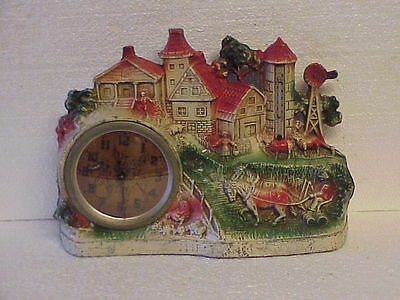 "Rare Vintage United Clock Co. ""The Farm"" Automated Mvt Metal Wind Up Clock p/rH"