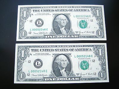 (2) $1 1969((D SAN FRANCISO) FEDERAL RESERVE NOTE CHOICE UNC BU NOTE LOW#ooo