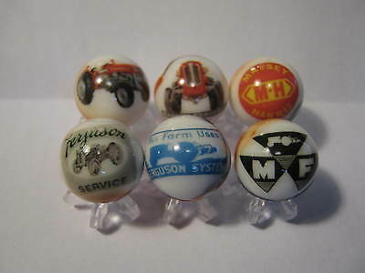 Massey Ferguson TRACTORS MARBLES 5/8 SIZE LOT COLLECTION + STANDS