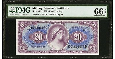 Military Payment Certificate Series 691 $20 - First Printing PMG 66 EPQ Gem UNC