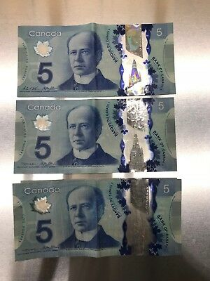 Lot of 3 Canadian $5 Dollar Bank Note Polymer Bill Circulated 2013 Canada