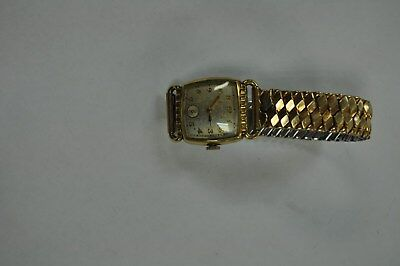 Vintage BULOVA17 Jewel Men's Wind Wrist Watch 10-BM repair Art Deco AS IS PARTS