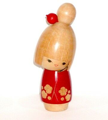 JAPANESE WOOD KOKESH DOLL RED KIMONO w/ PLUM BLOSSOM FLOWERS BY SATO SUIGAI !