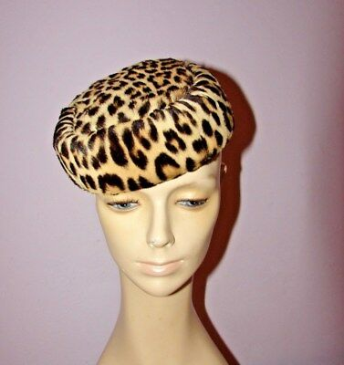 Fab VINTAGE Real Fur LEOPARD Cocktail PILLBOX HAT Hand MUFF Gift SET 1950's 60's