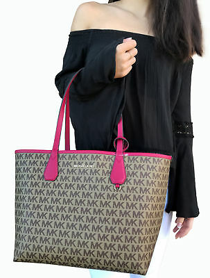 dddbca84969263 NWT Michael Kors Candy Large Reversible Tote Brown Signature Lipstick Pink  Pouch