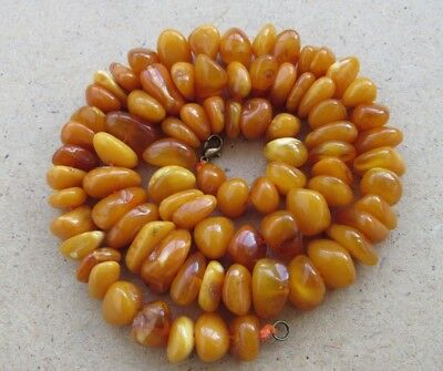 Vintage Natural Baltic Amber Honey Rare OLD Antique Beads Necklace 50 g. n/r