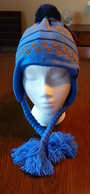 The North Face Youth Clydia Beanie Winter Hat Braid Youth Medium Deep Water Blue