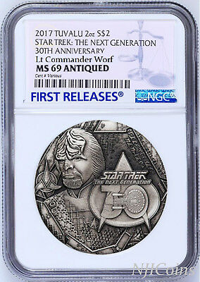 2017 STAR TREK The Next Generation COMMANDER WORF 2oz $2 SILVER COIN NGC MS69 FR