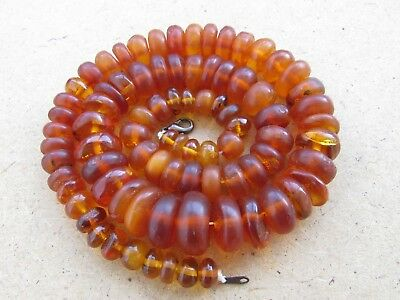 Vintage Natural Baltic Amber Honey Color OLD Tablet Beads Necklace 60 g. n/r