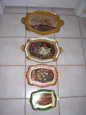 New set of (4) Florentine Trays from Italy w/different scenes Gold gilt handles