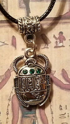 ☽✪☾ Egyptian Scarab Beetle With Green Gems Silver Tone Pendant Leather Necklace
