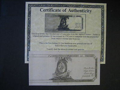 Italy 25 Lire 1792 First Ever Note c/w Certificate Uncirculated