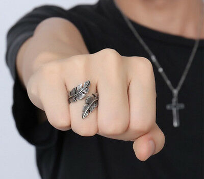 Vintage Men's Gothic Antique Silver Stainless Steel Feather Ring Band Jewelry RS