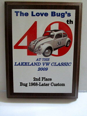 09 40Th  Lakeland Vw Classic 2Nd Place Plaque Award Herbie Love Bug  Volkswagen