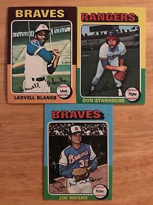 1975 Topps Chewing Gum Lot of 10 Baseball Cards