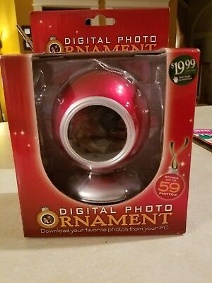 """Red Digital Photo Christmas Ornament Holds 59 Pictures 1.5"""" Display NEW"""