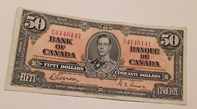 1937 Canada $50 Fifty Dollars Note. BH4146141 George VI