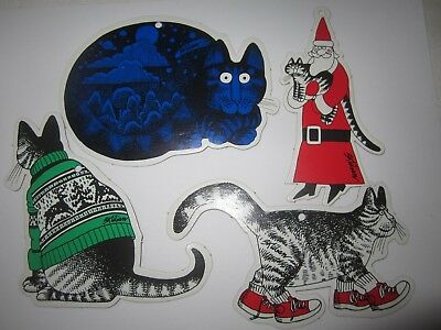4 Vtg KLIBAN Cat Die Cut Cardboard Xmas Ornament Ugly Sweater Santa Gift Tags