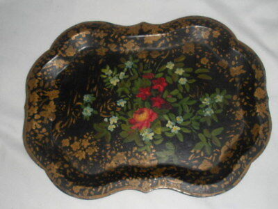 Small, Pretty Painted Tole Flowers, Gold, Black Antique Dresser Tray