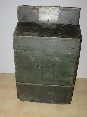 Antique Carboy Wooden Box With Large Green-Blue  Glass Bottle, Old Green Paint