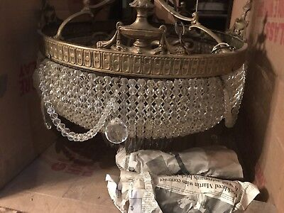 Large size  Basket Style Vintage Brass & Crystals Chandelier Antique Lamp
