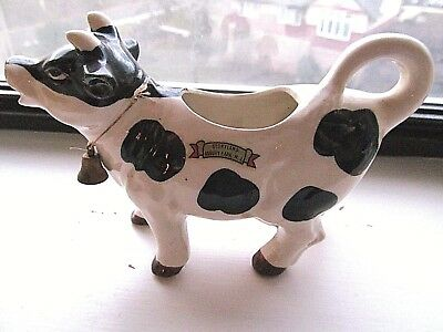 Vintage Storyland Amusement Park Asbury Park NJ black,white ceramic cow creamer