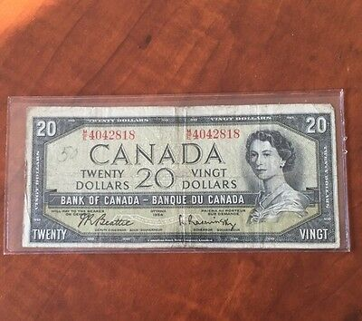 Beautiful Bank Of Canada 1954 $20 Bank Note Very Rare Currency Bill Must Have