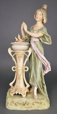 Fine Antique ROYAL DUX Bohemia Bisque Porcelain Art Nouveau Figurine Statue