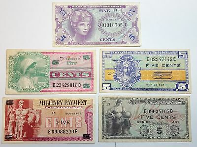 5 Different 5c MPC Military Payment Certificate Notes Series 481 to 692