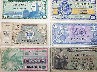 7 Different 5c MPC Military Payment Certificate Notes Series 472 to 681