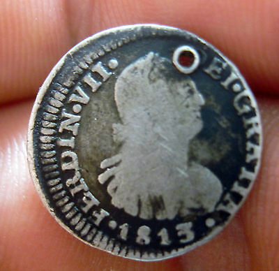 1813 FJ (CHILE) 1/2 REAL (SILVER) SANTIAGO MINT --- very scarce -------