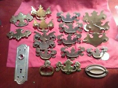 Antique Vintage Drawer Pulls  Brass & Metal  mixed lot of 19