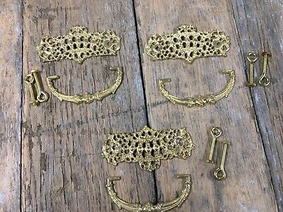 Set 3 Antique Style Victorian Drawer Pull Furniture Replacment Solid Brass