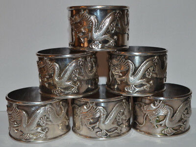 """NICE Set of 6 ANTIQUE CHINESE """"Dragon"""" SILVER NAPKIN RINGS 198 Gram CHINESE MARK"""