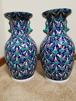 Gorgeous pair of antique Chinese porcelain famille vases, excellent condition
