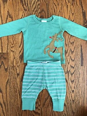 Hanna Andersson 2-piece Reindeer Applique Holiday Outfit Size 50 0-3 months