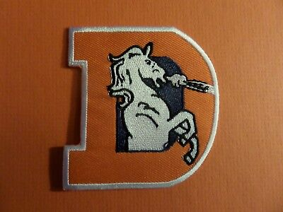 DEVER BRONCOS BIG D WHITE & ORANGE  Embroidered 2-3/4 x 3-1/8 Iron On Patch