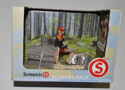 SCHLEICH FORESTRY SCENERY PACK 41806 FORESTRY WOOD CUTTER CHAIN SAW New
