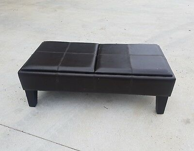 (Brown) Rectangular Storage Ottoman 2 large Serving Trays Very good condition