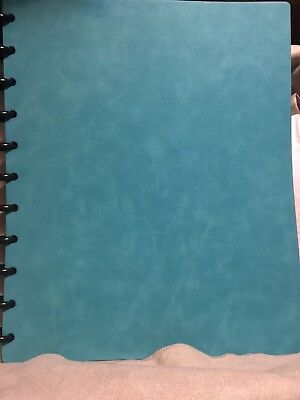 """Levenger Circa Silver Pastel Aqua Letter Size Notebook And Green 1"""" Discs Boxed"""