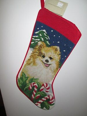 Pomeranian  Dog Needlepoint Christmas Stocking NWT
